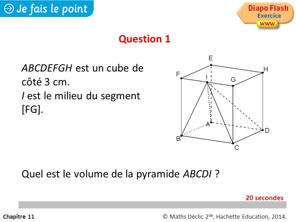 ABCDEFGH est un cube de côté 3 cm. I est le milieu du segment [FG].